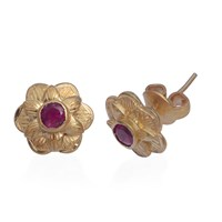 Emma Chapman Jewels Gypsy Rose Pink Tourmaline Stud Earrings Red