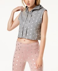 Material Girl Active Juniors' Star Print Muscle Hoodie Heather Grey Combo