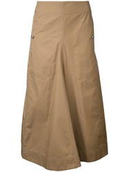 Christophe Lemaire Long Flared Skirt Women Cotton Polyurethane 38 Brown