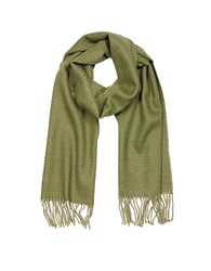 Mila Schon Pure Cashmere Long Scarf W Fringe Green