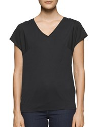 Calvin Klein Jeans Mixed Media V Neck Tee Black