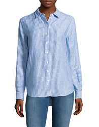 Lord And Taylor Petite Striped Linen Shirt Orange