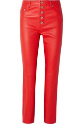 Joseph Den Leather Straight Leg Pants Red