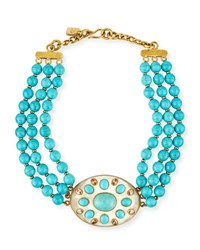 Ashley Pittman Bendi Turquoise And Light Horn Pendant Necklace Multi