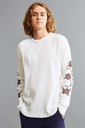 Urban Outfitters Uo Printed Waffle Thermal Long Sleeve Tee White