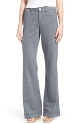 Nydj 'Claire' Linen Blend Wide Leg Trousers Regular And Petite Blue