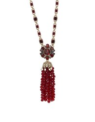 Marchesa Studded Tassel Necklace Red