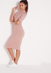Missguided High Neck Short Sleeve Bodycon Dress Dusky Pink Pink