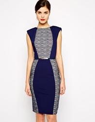 Little Mistress Belted Pencil Dress With Sheer Stripe Colour Blocking Navy
