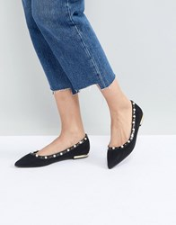 Miss Kg Morgan Pearl Studded Pointed Ballet Pumps Black