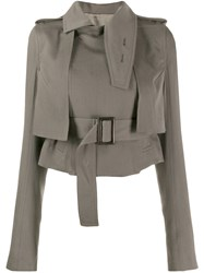 Rick Owens Cropped Trench Style Jacket Neutrals