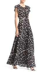 Women's The Kooples Feather Print Flutter Sleeve Maxi Dress