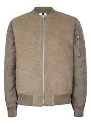 Topman Brown Stone Bomber Jacket Containing Wool