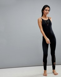 New Look Ladder Cut Out Seam Free Yoga Jumpsuit Black