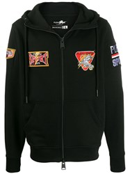 Plein Sport Patch Decorated Zip Hoodie Black