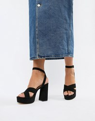 London Rebel Platform Sandals Black