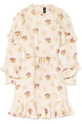 Needle And Thread Bessie Belted Ruffled Floral Print Satin Mini Dress Cream