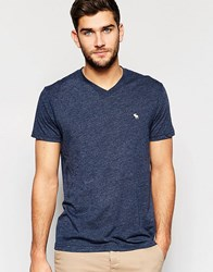 Abercrombie And Fitch T Shirt With V Neck In Navy Navy