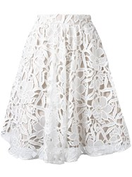 Alice Olivia Floral Lace Skirt White