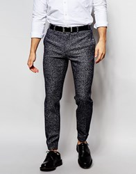 Asos Skinny Fit Cuffed Trousers In Wool Mix Navy