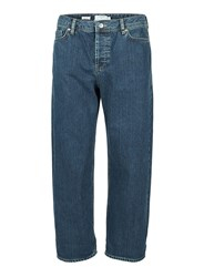 Topman Blue Cropped Wide Leg Fit Jeans