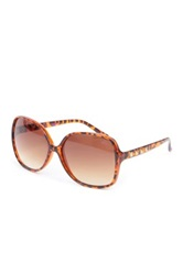 Betsey Johnson Women's Large Studded Round Plastic Sunglasses Brown