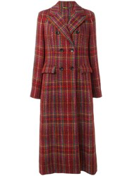 Etro Checked Double Breasted Coat Red