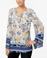 Styleandco. Style Co. Petite Printed Lace Up Blouse Only At Macy's Tide Scarf Yellow