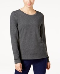 32 Degrees Quilted Fleece Top Heather Charcoal