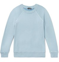 Tom Ford Garment Dyed Loopback Cotton Jersey Sweatshirt Blue