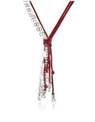 Daco Milano White Agate Drops Multi Strand Sterling Silver Lace Necklace Wine Red