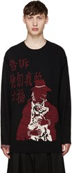 Yohji Yamamoto Black Kanji And Dog Sweater