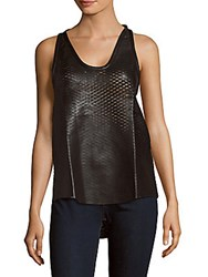 Iro Jazz Woven Leather Tank Top Black