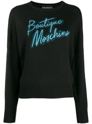Boutique Moschino Logo Embroidered Sweater Black