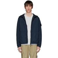 Stone Island Blue Nylon Rep Hooded Coat