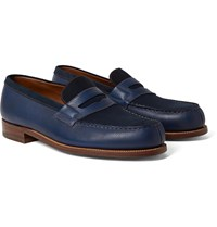 J.M. Weston 180 The Moccasin Full Grain Leather And Suede Penny Loafers Blue