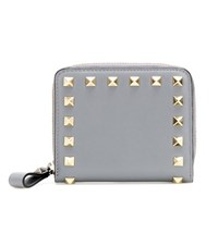 Valentino Rockstud Leather Wallet Grey