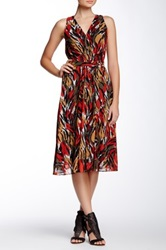 Anne Klein Pleated And Printed Sleeveless Dress Multi