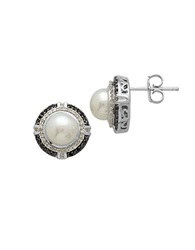 Lord And Taylor Freshwater Pearl And Diamond Sterling Silver Stud Earrings Pearl Black Silver