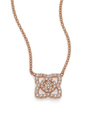 De Beers Enchanted Lotus Diamond And 18K Rose Gold Mini Pendant Necklace