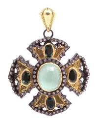 Armenta Old World Multi Gem Diamond Maltese Cross Enhancer Pendant Women's