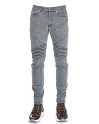 Givenchy Slim Fit Moto Denim Jeans Gray