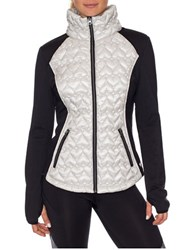 Betsey Johnson Quilted Hybrid Packable Jacket Metallic Silver