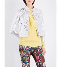Marques Almeida Foiled Cropped Biker Jacket Silver