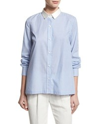 Brunello Cucinelli Striped Cotton Blouse W Satin Collar Multi