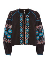 Free People Embroidered Swing Jacket Black