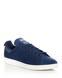 Adidas Stan Smith Reflective Heel Lace Up Sneakers Navy