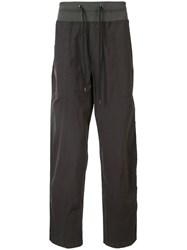 James Perse Drawstring Waist Straight Leg Cargo Pants Grey