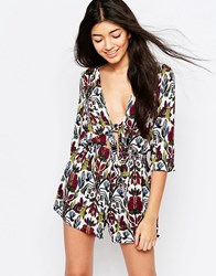 Wyldr Twin Shadow Playsuit With Tie Front Multi