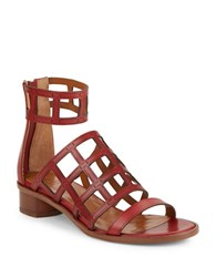Aquatalia By Marvin K Rianna Leather Cage Sandals Red